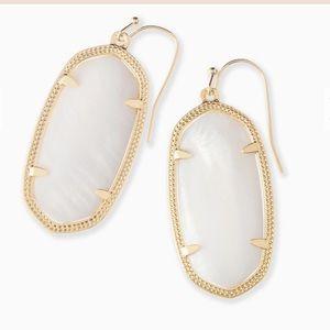 Kendra Scott Elle Gold Drop Earrings - White Pearl